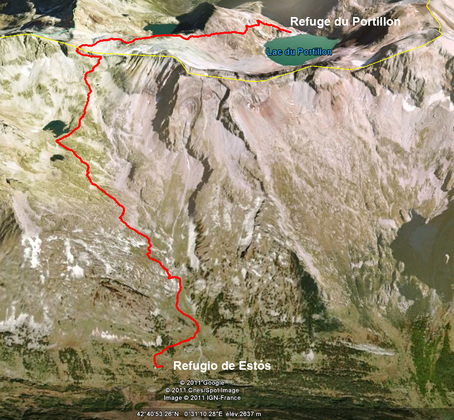Google Earth view of the trail from Estós to the lac du Portillon