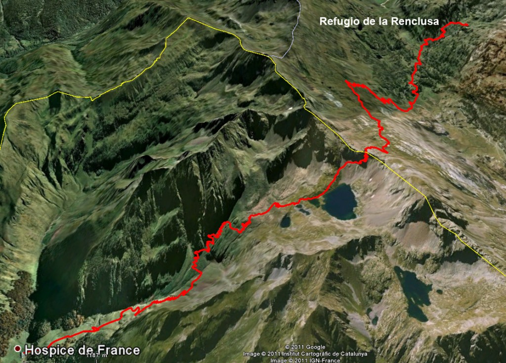 Google Earth view of trail from the Hospice de France to la Renclusa