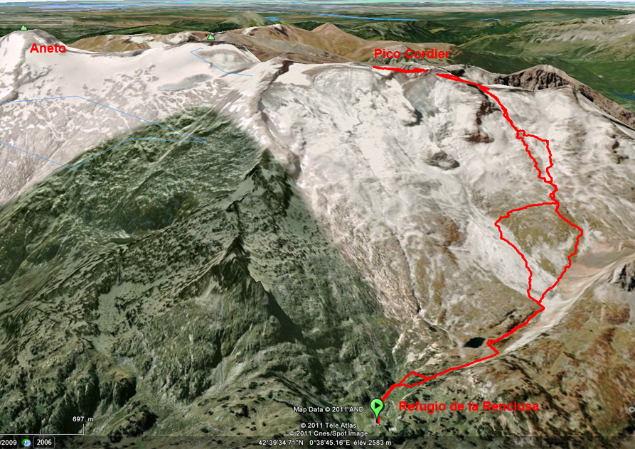 Google Earth view of the trail from la Renclusa to the Pico Cordier