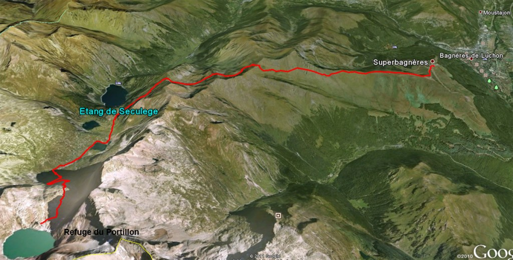 Google Earth view of trail from the Refuge du Portillon to Superbagnères
