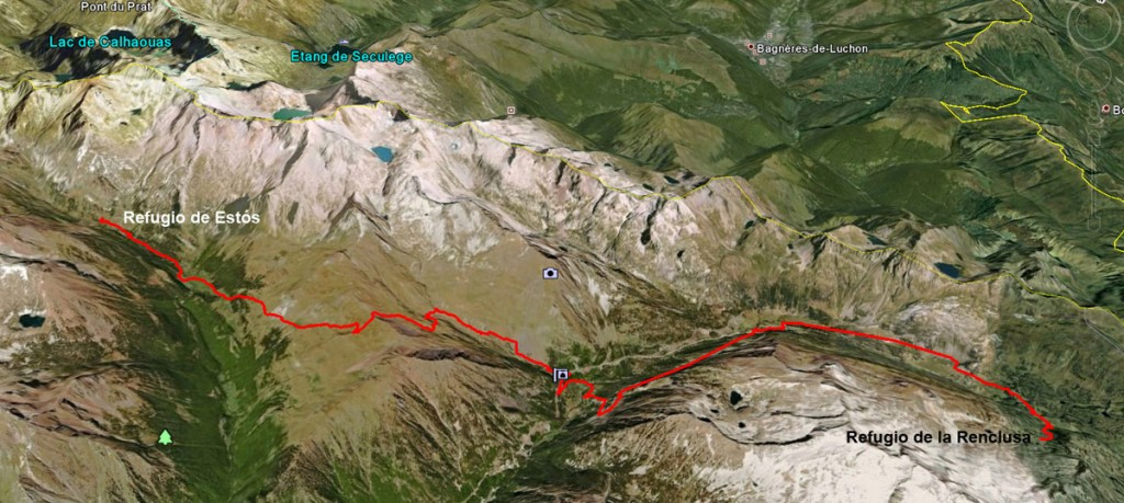 Google Earth view of trail from Renclusa to Estós