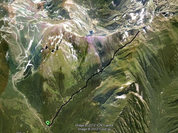 Ruisseau de la Combe Grande au Col de l'Egue sur Google Earth