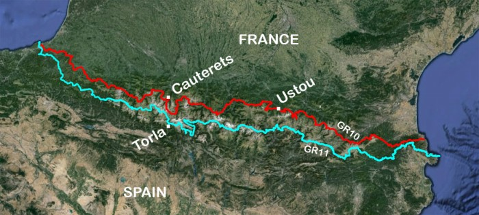 map of pyrenees showing GR10 and GR11
