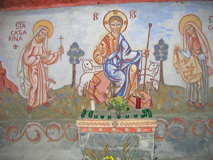 Wall painting in a roadside chapel at the Granges d'Astau, just below the Lac d'Oô