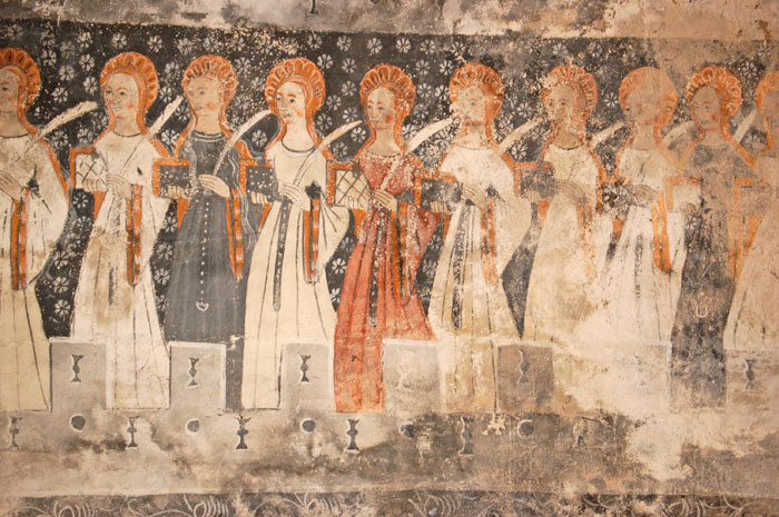 Wise and foolish virgins in the church of Sainte Anne at Cazeaux