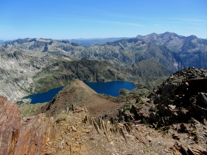 View from Pic de Certascan. The very small red square to the right of the lake is the roof of the Certascan hostel