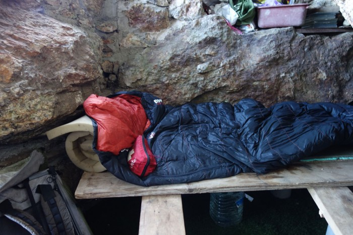 My sleeping bag on the bench