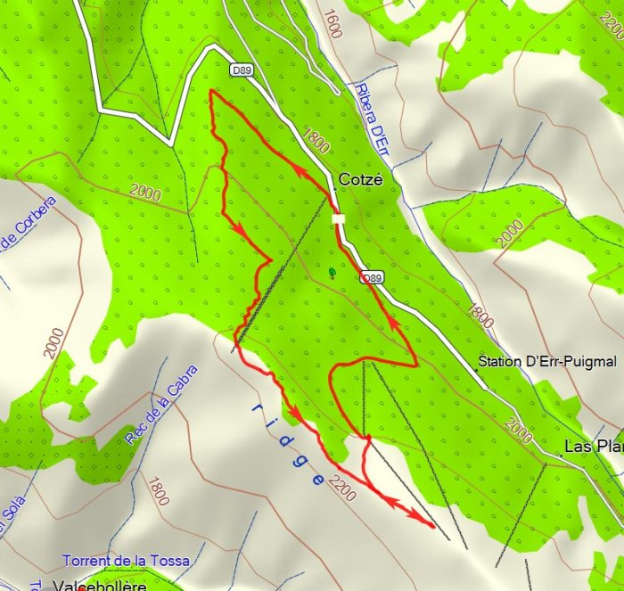Plan of walk (8.5km). North at top.