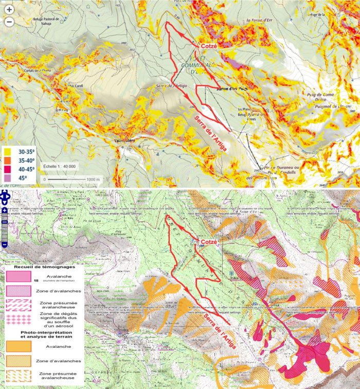 Avalanche zones near the Err-Puigmal ski resort. Above: Geoportail map based on slope angle >30°. Below: avalanches.fr map based on avalanche data