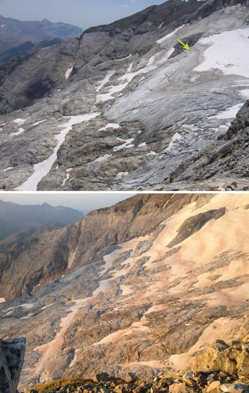 The Ossoue glacier (on the East side of Vignemale) is melting rapidly
