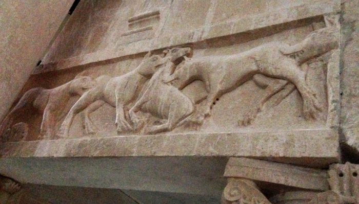 A reminder of the need for the 'Good Shepherd', on the pulpit of the Santa Maria Assunta church outside Bominaco