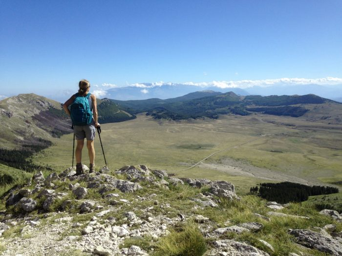 Looking down at the Campo Imperatore