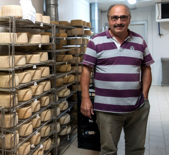 Giulio Petroni with his Canestrato cheese