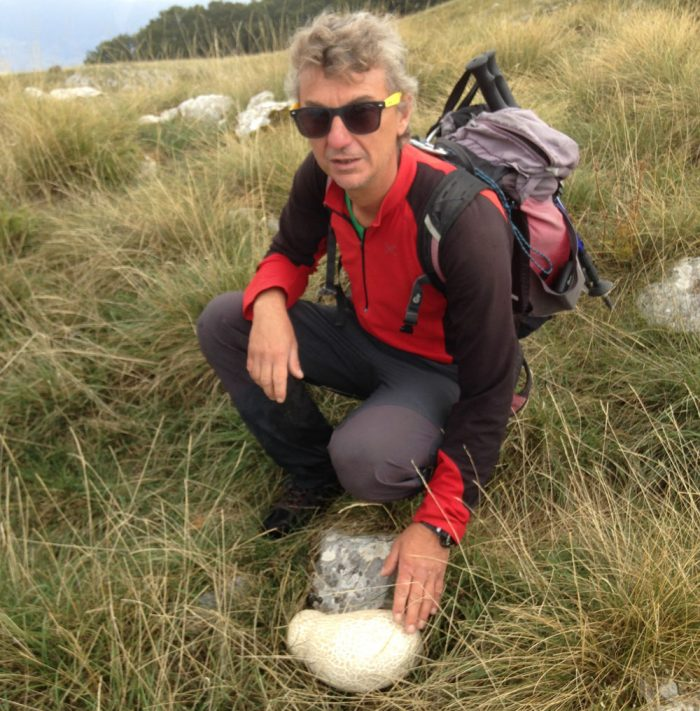 Lorenzo and the biggest puffball mushroom I have ever seen