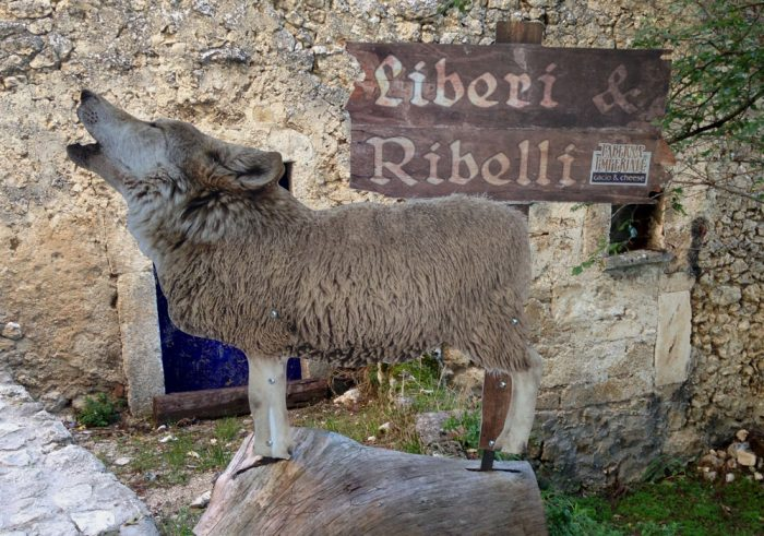 [photo: wolf in sheep's clothing, free and rebellious. Advert for a restaurant specialising in sheep's cheese in Rocca Calascio, Gran Sasso, Italy