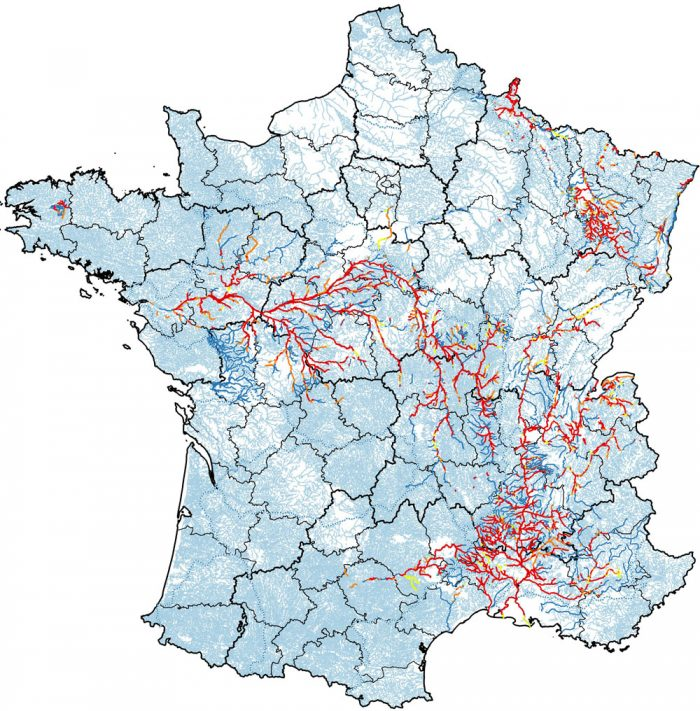 Distribution of beavers in France 2017