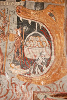Medieval wall painting in the  church of Sainte Anne at Cazeaux, near Luchon